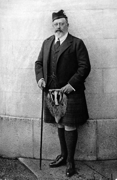 Photographic portrait of King Edward VII (1841-1910) of Great Britain and Ireland, pictured in Highland attire with a badger sporran, c.1905