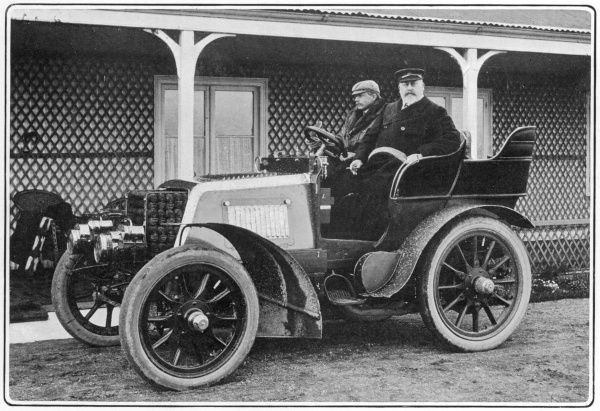 King Edward VII pictured seated in his motorcar with Mr John Scott Montagu, M.P. The King was an enthusiastic motorist, acquiring his first car in 1899 and appointing a Master of the Motors in the royal household to oversee the royal cars