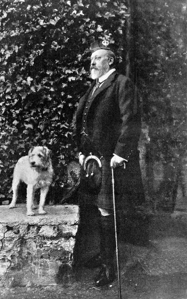 Portrait of Edward VII (1841-1910) in Scottish costume, accompanied by his dog