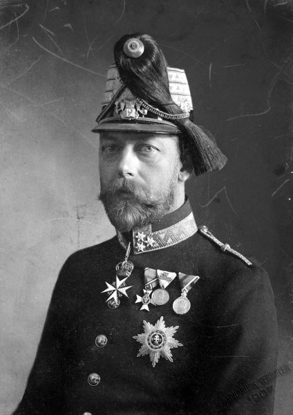 Photographic portrait of King George V of Great Britain and Northern Ireland (1865-1936), pictured in Austrian military uniform in 1905, when he was Prince of Wales