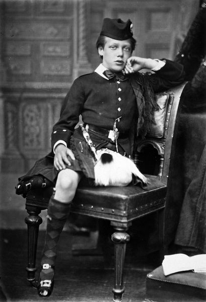 Photographic portrait of King George V of Great Britain and Northern Ireland (1865-1936), pictured in Highland attire when he was Prince George of Wales, c.1870
