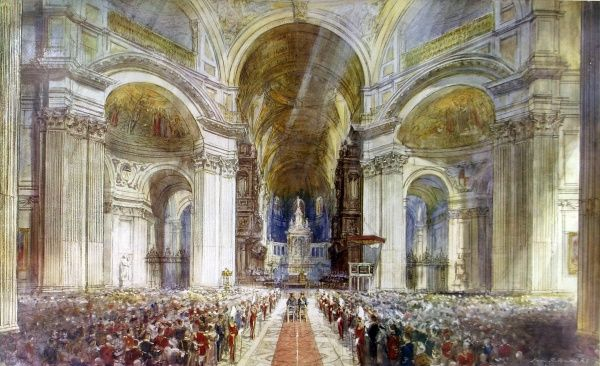 Illustration showing the service of prayer and thanksgiving for King George V's Silver Jubilee held at St. Paul's Cathedral, London, May 1935