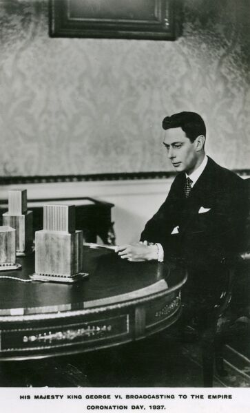 King George VI broadcasting from Buckingham Palace to the British Empire on the evening of Coronation Day, May 12th 1937