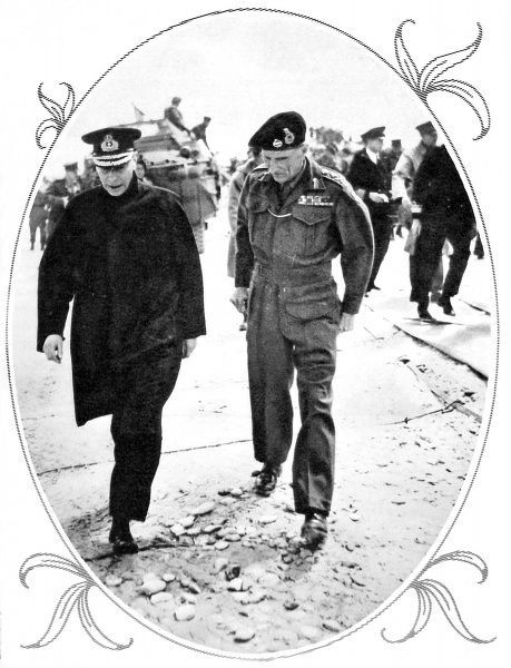 Photograph showing King George VI (on left) and General Montgomery walking on one of the Normandy beaches, 16th June 1944