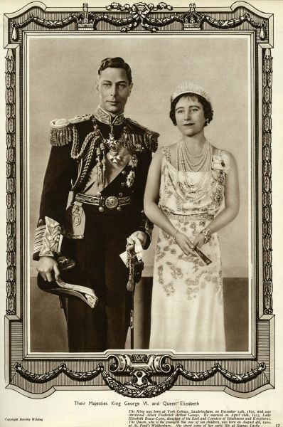 King George VI in uniform of Admiral of the Fleet (1895 - 1952) and Queen Elizabeth consort also known as Queen Mother (1900 - 2002) in the year of the Coronation. Date: 1937