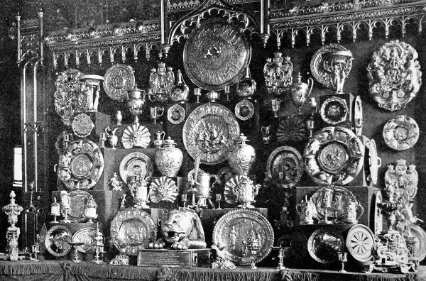 Photograph showing part of King George V's collection of gold plate at Windsor Castle, 1935. The collection, which included gold ornaments, vases and a dinner service, was valued at 3,375,000 at that time&quot