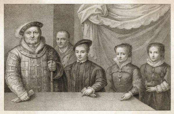 MARY TUDOR as a child with her father Henry VIII, her brother Edward (VI) her sister Elizabeth (I), and their jester Will Sommers in the background