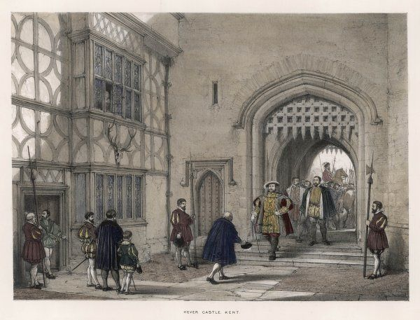 HENRY VIII arrives at Hever Castle, Kent, the family home of his mistress, Anne Boleyn, circa 1530