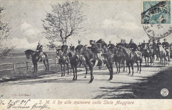 The King of Italy (Victor Emmanuel III) on manoeuvers in 1905 in the Maggiore Region. Date: 1905