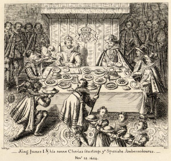 King James I of England (and VI of Scotland) feasting with Spanish ambassadors