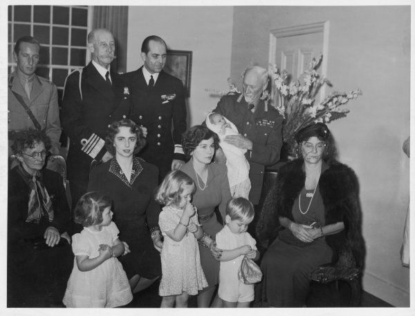 PAUL I OLDENBURG, Third from the left, at the Royal Christening of his daughter Princess Irene, in Cape Town. Field-Marshal Smuts, holding the baby, was godfather