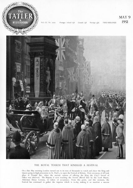 King George VI and Queen Elizabeth pictured in an open carriage making their way along Fleet Street to St
