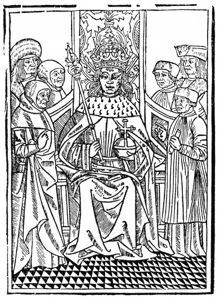 The king on his throne, holding the orb and sceptre, surrounded by his courtiers. Date: 15th century