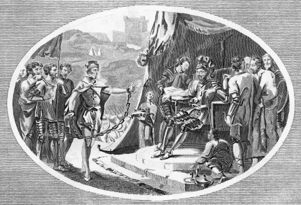 Mortally wounded, King Richard nevertheless pardons the crossbowman, Bertrand de Gurdon, who had shot him from the battlements of the castle of Chalus-Chabrol Date: March 1199