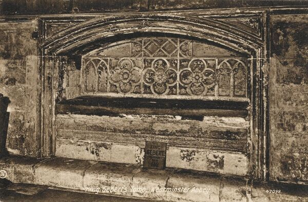 The Tomb of King Sebert (? - c.616) at Westminster Abbey, which he is thought to have founded in the early 7th century. Sebert converted to Christianity in 604