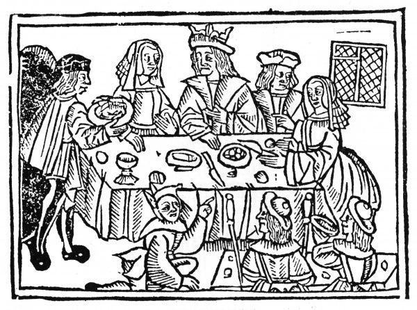 A king at table with his family, with servants and a jester. Date: 1513