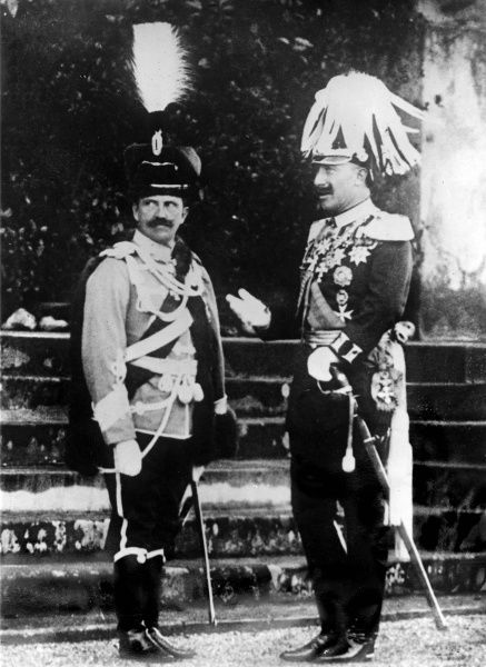 King Victor Emmanuel III of Italy (1869-1947) and Kaiser Wilhelm II of Germany (1859-1941), both in elaborate ceremonial uniform. Date: circa 1912-1913