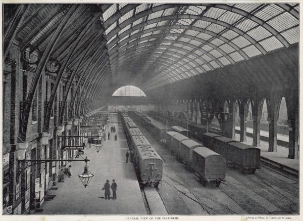 A view of the platforms at the terminus for the Great Northern Railway, designed by the architect Lewis Cubitt, built in 1851-52