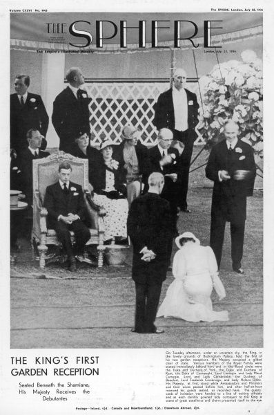 King Edward VIII receives the season's debutantes during a garden party at Buckingham Palace, sitting under a Shamiana. Shame it rained
