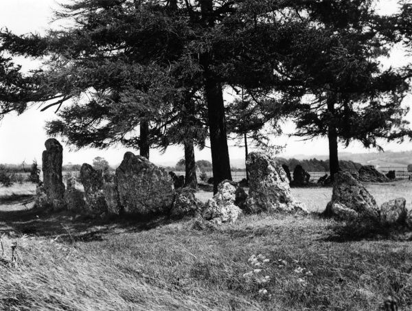 'The King's Men' ancient stone circle, part of the Rollright Stones, dating back to about 3000 B.C., Oxfordshire, England. Date: January 1939