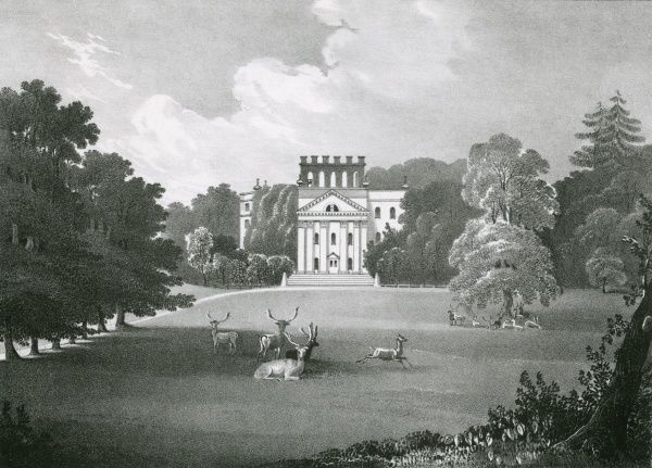 Deer grace the grounds of King's Weston, Somerset, the residence of Lord De Clifford. Date: 1831