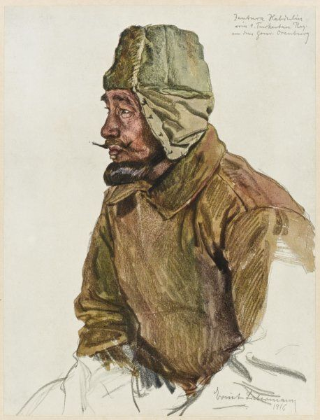 Fantura Habdrulin, Moslem Russian soldier in the 9th Turkestan regiment, from the Kirghiz region of Central Asia, during World War One