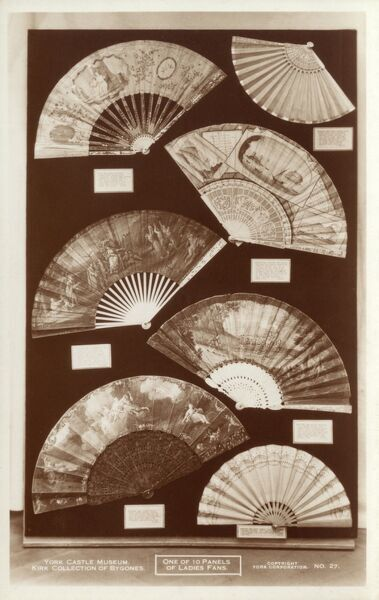 York Castle Museum - One of ten panels of ladies' fans of the late 18th century in the Kirk Collection of Bygones. Second from top right is a Neopolitan painted fan which belonged to Queen Charlotte, wife of George III, dated 1779. Date