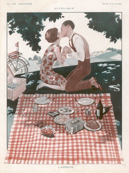 Kissing makes a fine aperitif before a picnic