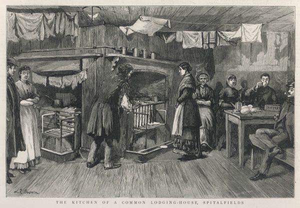 The kitchen of a common lodging house, Spitalfields, London. Men and women sit together under the laundry hanging out to dry. This scene was sketched from life