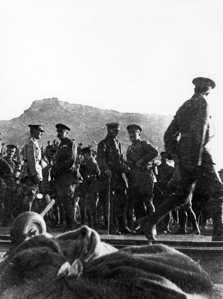 Lord Herbert Kitchener (second left), Lieutenant-General Sir William Birdwood (far left), Major-General Alexander Godley (second right) and Major-General John Maxwell (far right) at North Beach, Anzac, during the Gallipoli Campaign, First World War