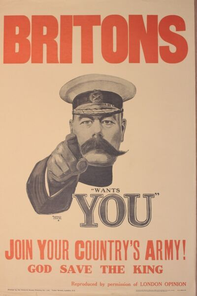 Poster, Britons - (Kitchener) wants YOU. Join your country's army. The classic World War One recruitment poster designed by Alfred Leete