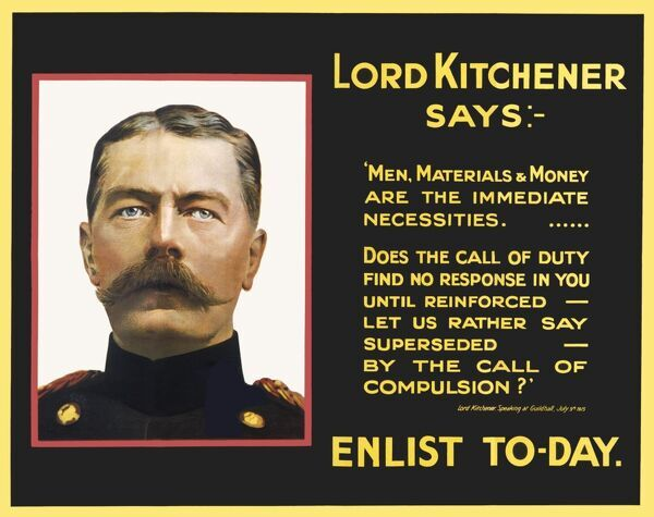 A recruitment poster featuring a portrait of Lord Kitchener alongside a quote from a speech he gave at the Guildhall in July, 1915 stressing the 'Call of Duty..&#39