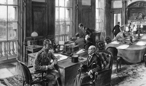 Illustration showing Lord Kitchener (1850-1916), Secretary of State for War receiving the famous soldier, Lord Roberts in his room at the War Office in 1914