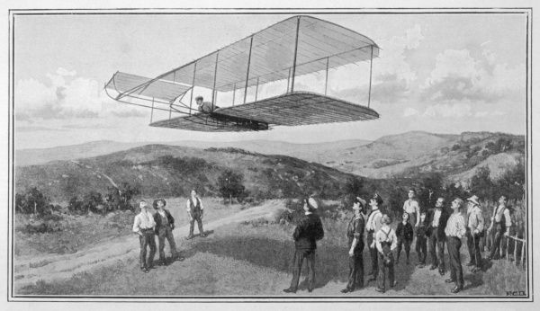 Orville and Wilbur Wright test unpowered gliders against the wind at Kitty Hawk. The first powered flight was achieved there on 17th December 1903