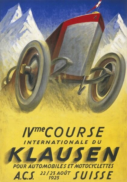 A poster for the Motor Racing events at Klausen, Switzerland on 22nd and 23rd August 1925 for Cars and motorcycles