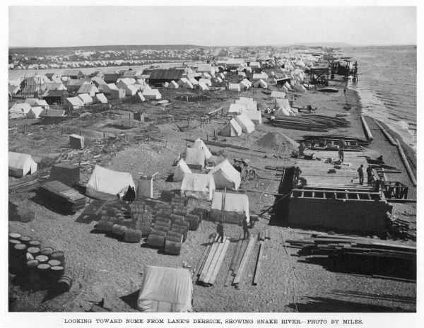 Miners' camp on the Snake River, Nome, Alaska, during the Gold Rush