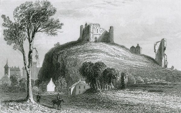 Distant view of the ruins of Knaresborough Castle, Yorkshire : about a mile down-river from the castle is Saint Robert's Cave, the scene of the dreadful miurder committed by Eugene Aram, which was discovered thirteen years later Date: circa 1830
