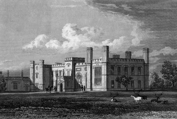 Knebworth House, Hertfordshire, home of the Lytton family of writers and statesmen Date: circa 1830