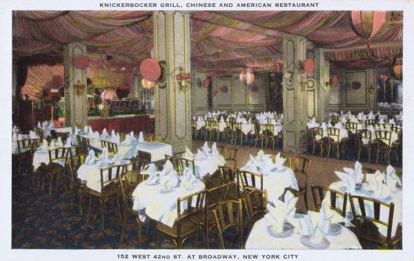 The interior of the Knickerbocker Grill, New York at 152 West 42nd Street at Broadway Date: 1920s