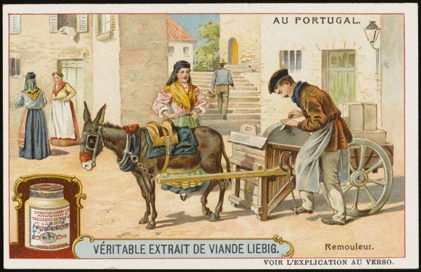 His donkey waits patiently while a Portuguese knife- grinder exercises his trade