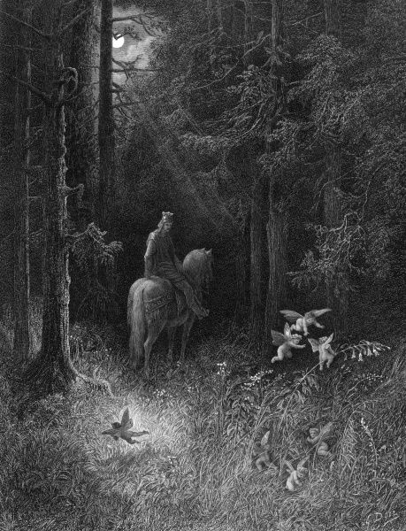 A knight of the Round Table encounters fairies while he is riding at night through a wood Date