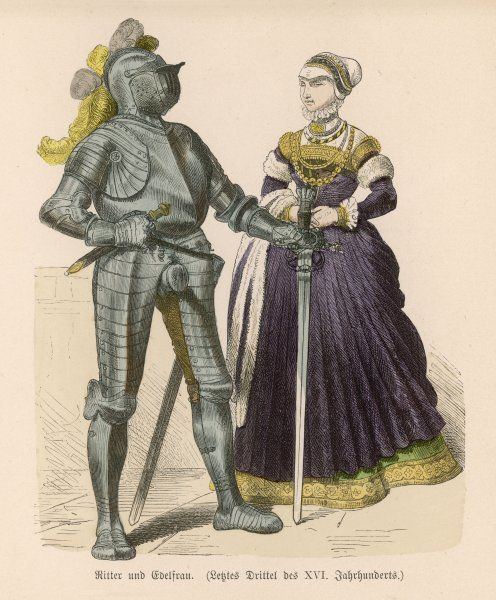 Knight in armour and his lady
