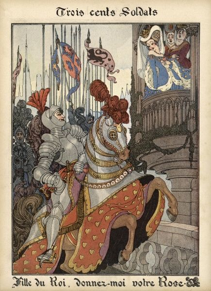 A knight parades before a princess