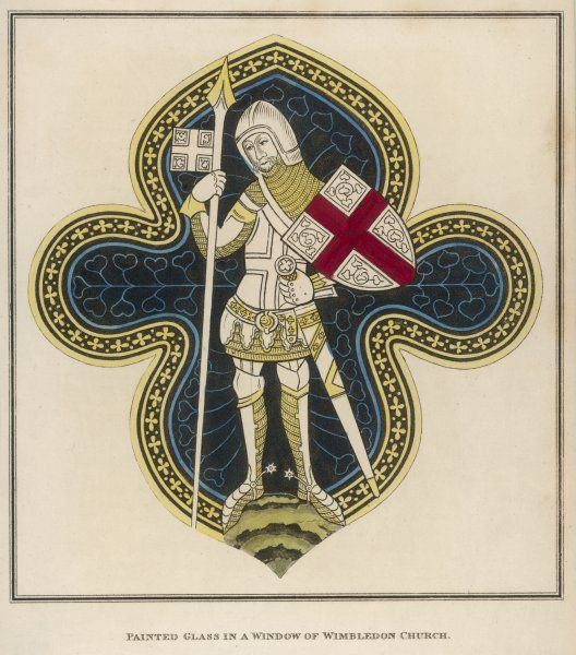 A knight in armour from a stained glass window