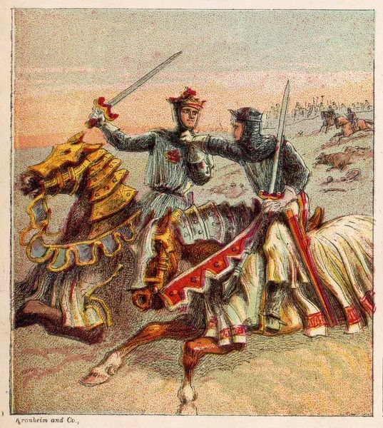 After the battle of Crecy, the English knights pursue the French off the field of battle and take many nobles prisoner, who are afterwards obliged to pay ransom
