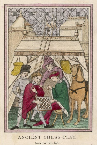 Two English knights relax over a game of chess, though a colleague seems to be urging them to leave the chessboard for the battlefield