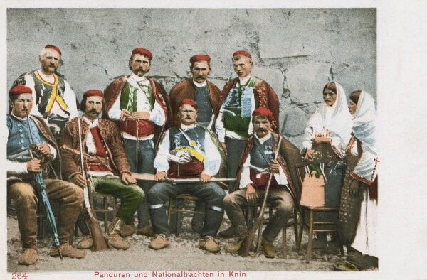 Soldiers and men (and women) in National Costume from Knin, Croatia