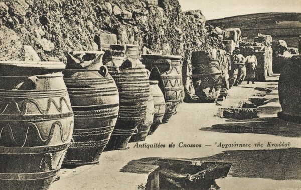 The excavations of Sir Arthur Evans at Knossos revealed a remarkable set of large Minoan storage jars, or pithoi