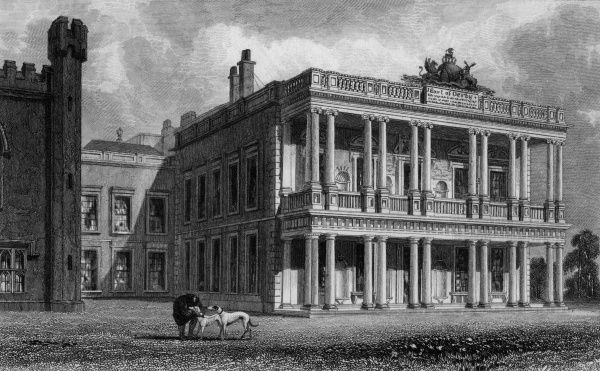 The grandiose south front of Knowsley Hall, Merseyside, the home of the earl of Derby Date: 1829