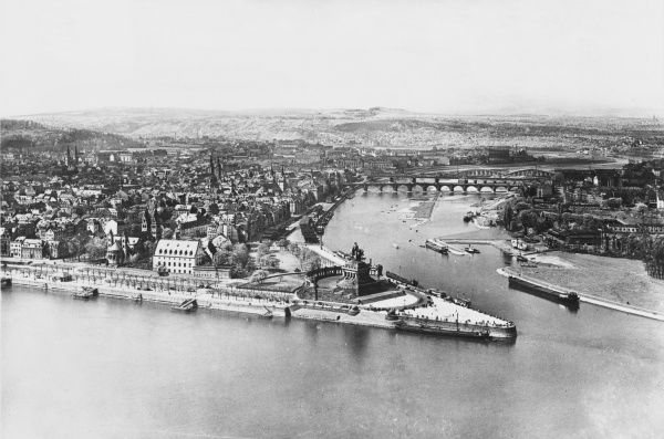 Pre-war Koblenz, Germany, showing the junction of the Moselle River and the Rhine River